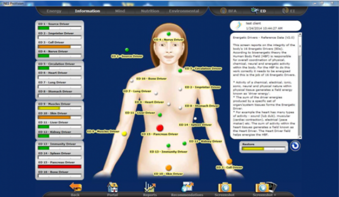 The NES Health Provision body scan takes a reading of what's going on in your body and your life